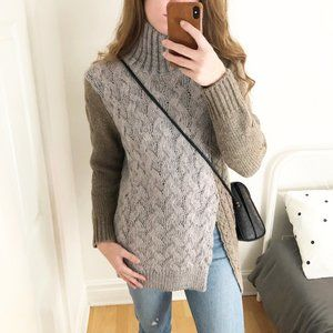 Stunning Cable Knit Wool Blend Grey Green Sweater